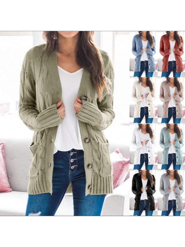 Fashion Women'S Loose Cardigan Sweater With Pocket