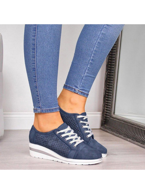 Women Hollow Out Wedge Casual Shoes