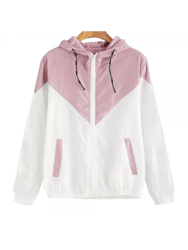 Women Color Matching Hooded Zipper Coat