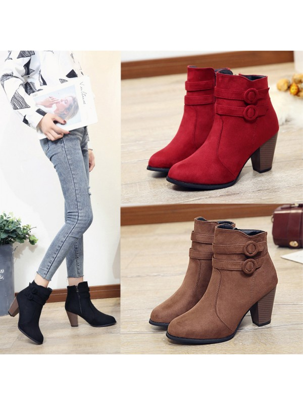 Women Suede Belt Buckle Winter Martin Boots
