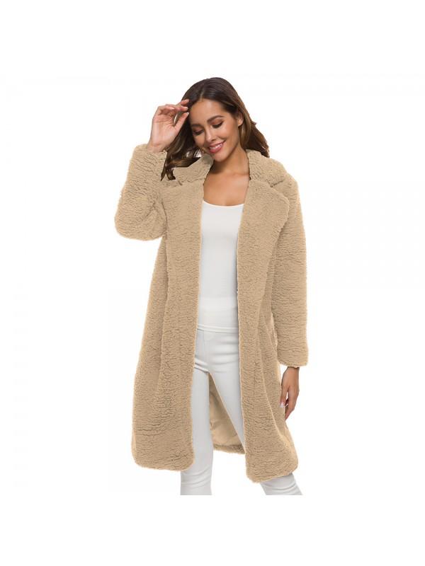 Women Lapeled Plush Cardigan Long Coat