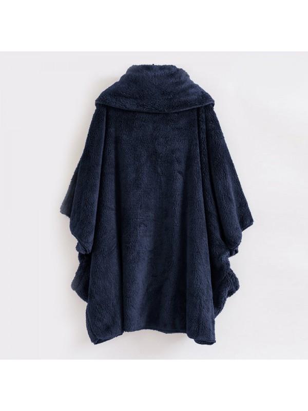 Women Plush High Collar Bat Sleeve Coat