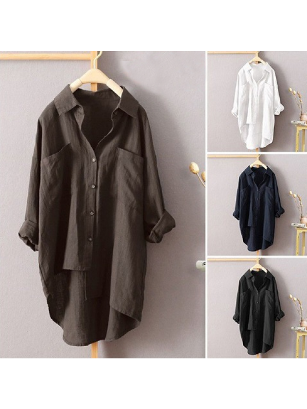 Women's Solid Color Shirt Autumn Cardigan Long-sleeved Blouse