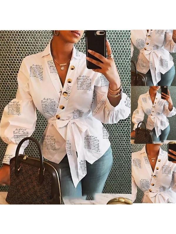 Women's V-collar Lantern Sleeve Printed Shirt