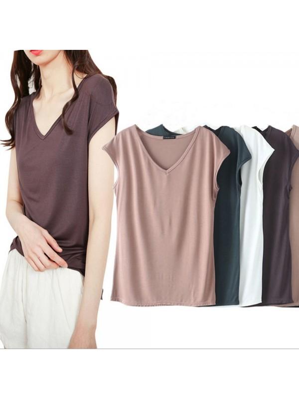 Summer Ladies Casual V-neck T-shirt
