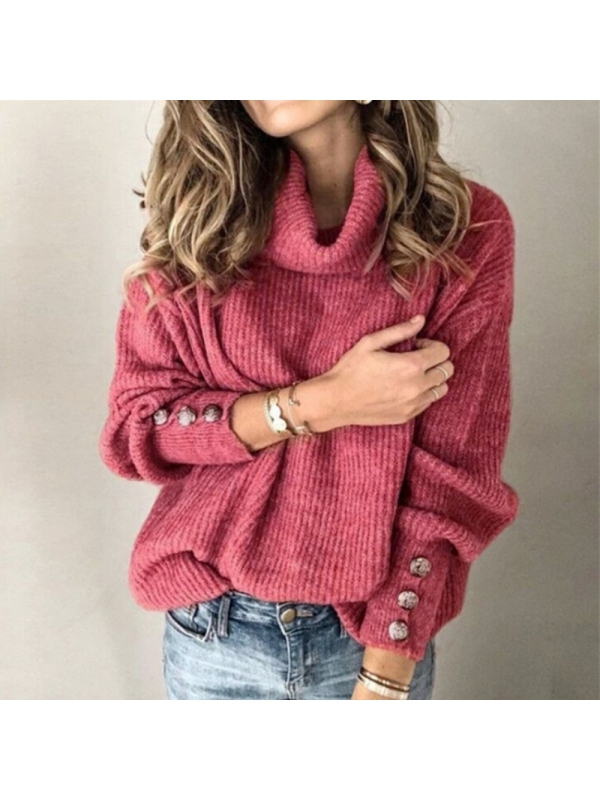 Women's Winter Pullover Tops Solid Color Long Sleeve Sweaters