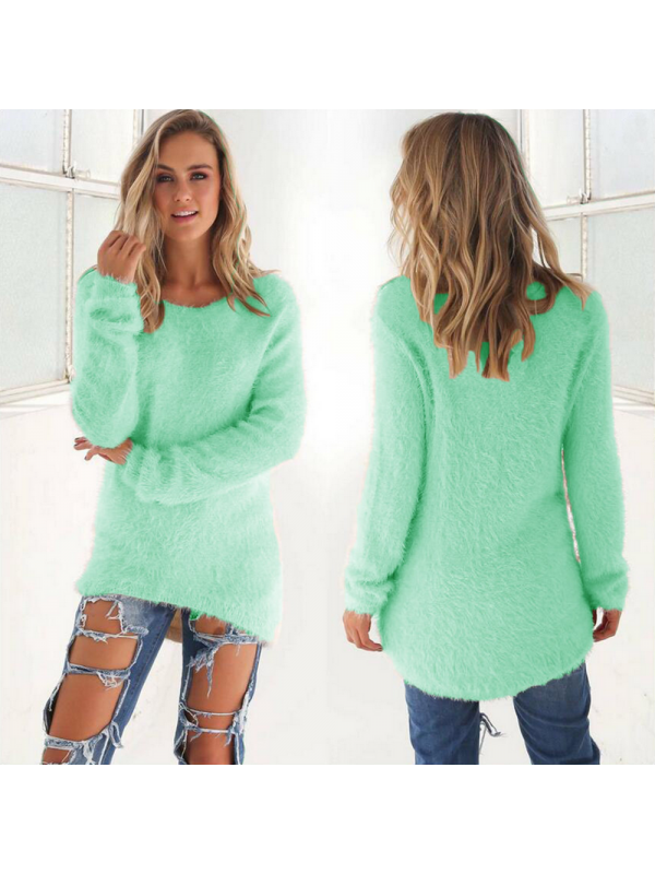 Fashion Solid Color Long Sleeve Women's Sweater