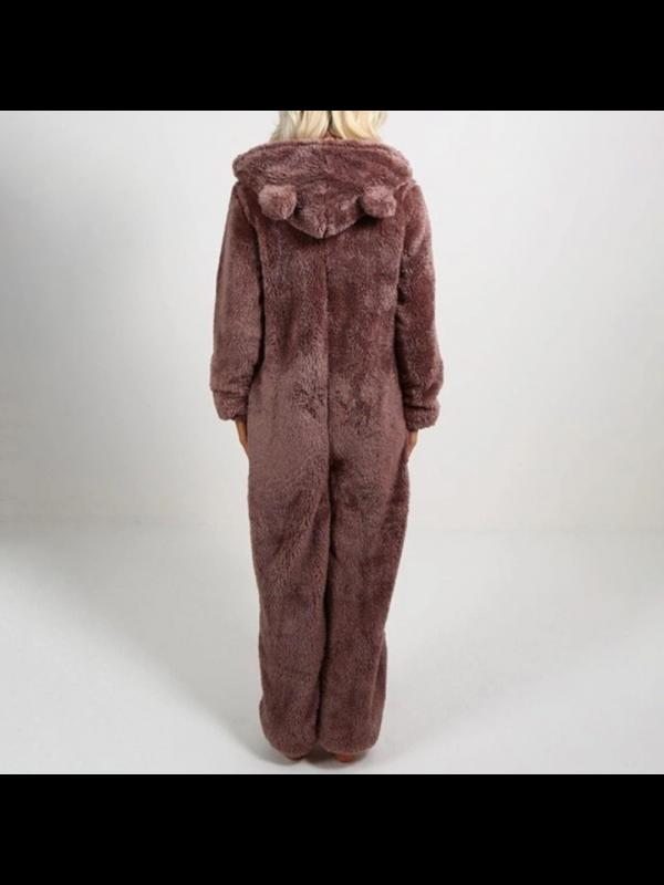 Ladies Solid Color Plus Fleece Plush Jumpsuit Pyjamas
