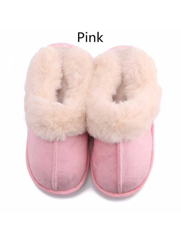 Ladies Rubber Sole Plush Slippers