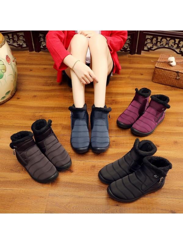 Women Waterproof Snow Boots Zipper Shoes