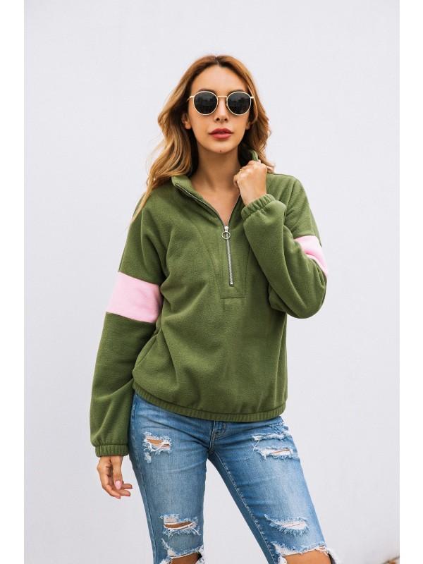 Women Zipper Lapel Collar Sweater