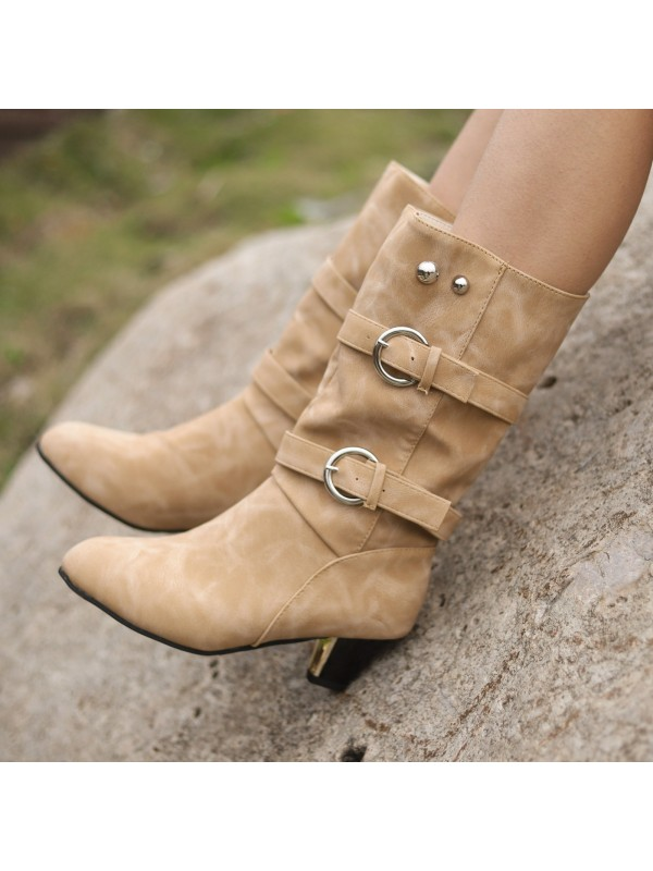 Belt Buckle Roman Women Boots