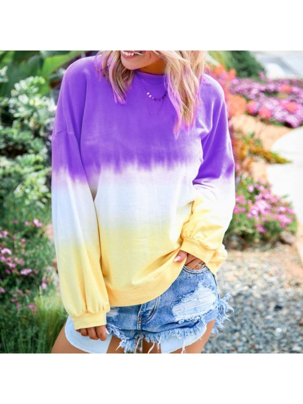 Women Rainbow Gradient Print Sweater Tops