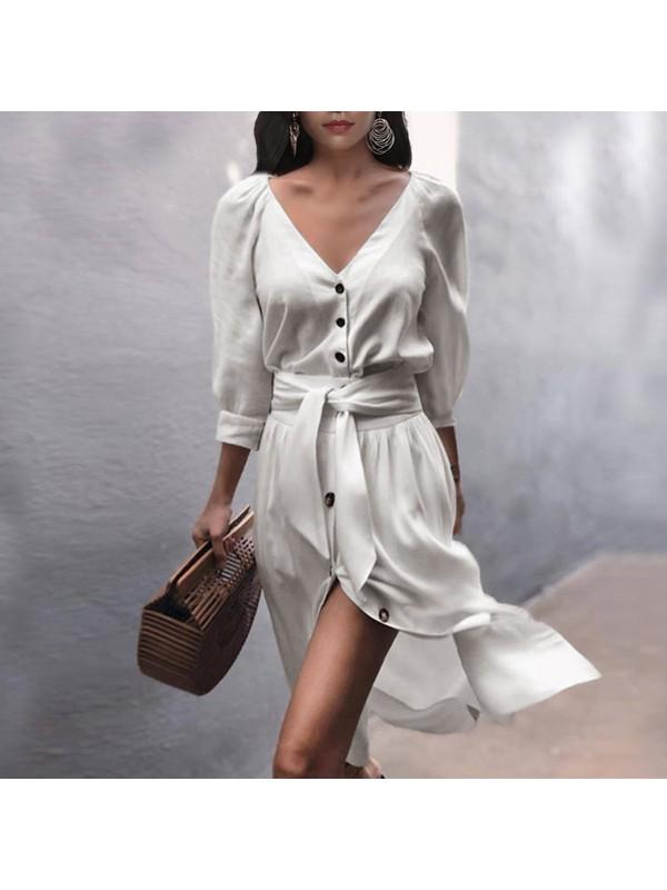 Women V-Neck Lace-Up Half Sleeve Dress