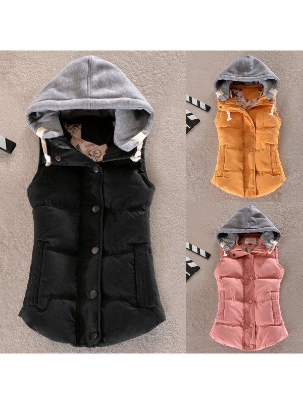 Women Winter Hooded Warm Gilet
