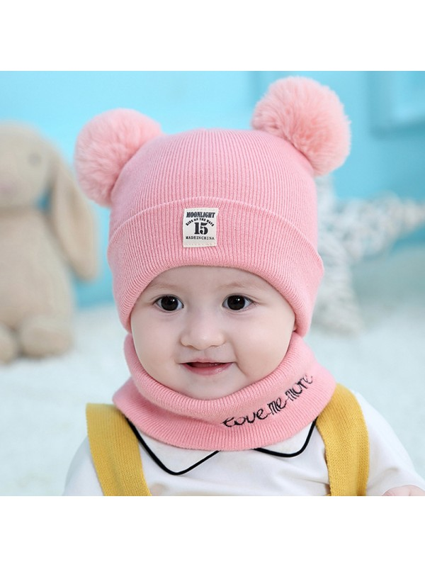 2Pcs/Set Knitted Winter Baby Hat Scarf