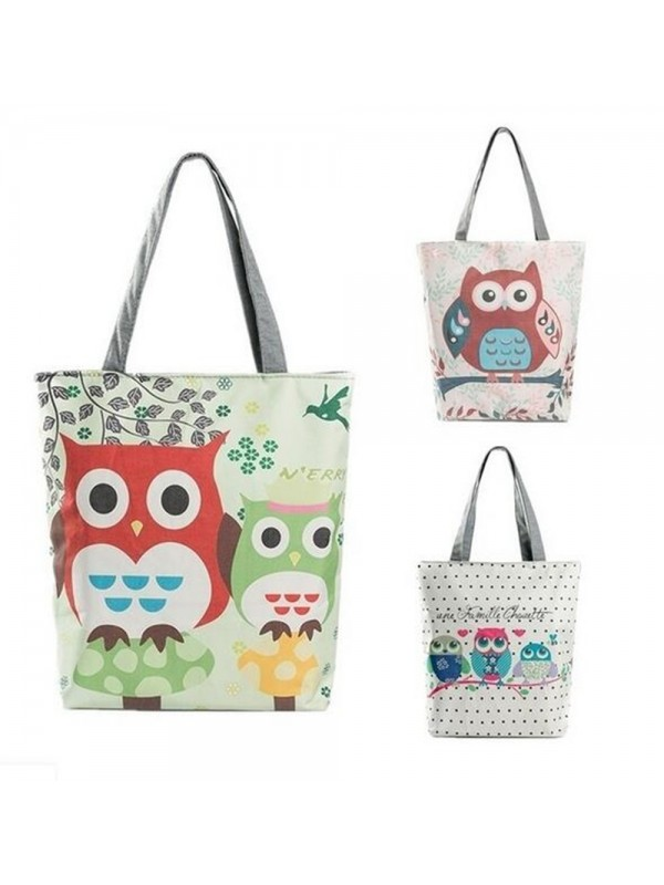 Cute Owl Floral Printed Canvas Bags