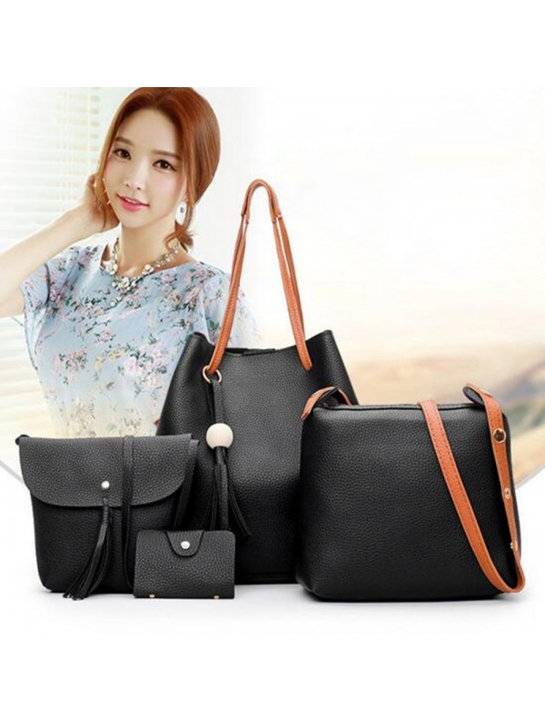 4PCS Women PU Handbag Shoulder Bag