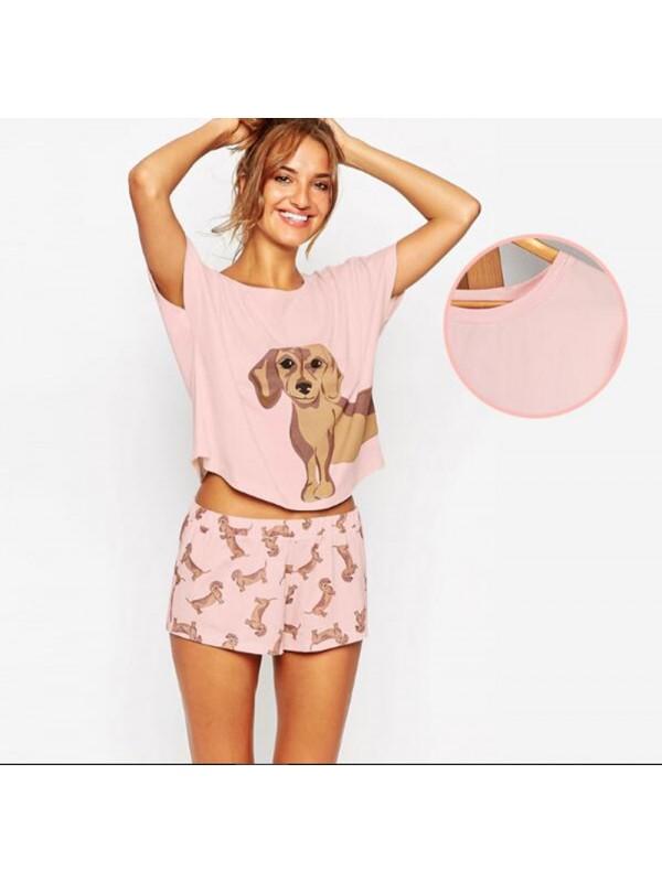 Top + Shorts Print 2 Pieces Set Pajamas