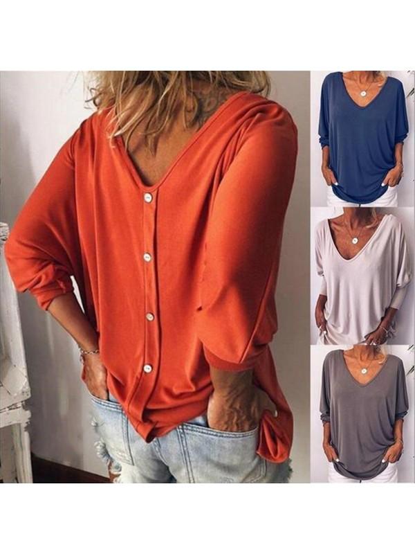 V-neck Back Button T-shirt Loose Top