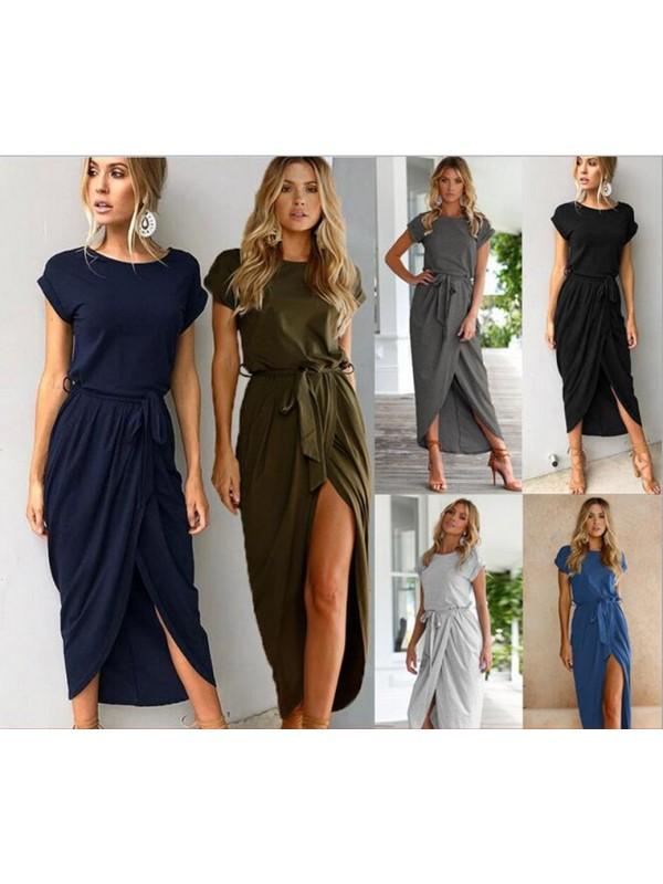 Fashion Irregular Short Sleeve Slim Dress
