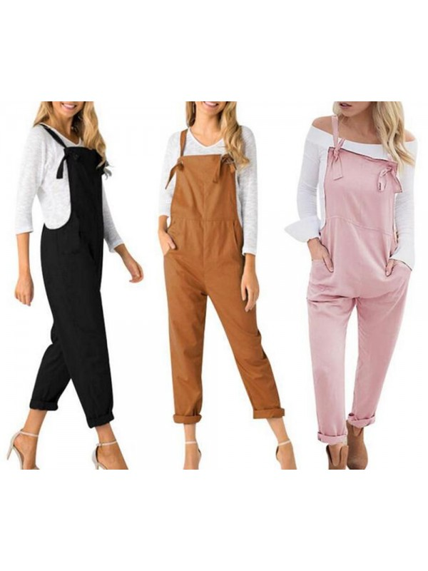 Women Loose Casual Pocket Bib Pants