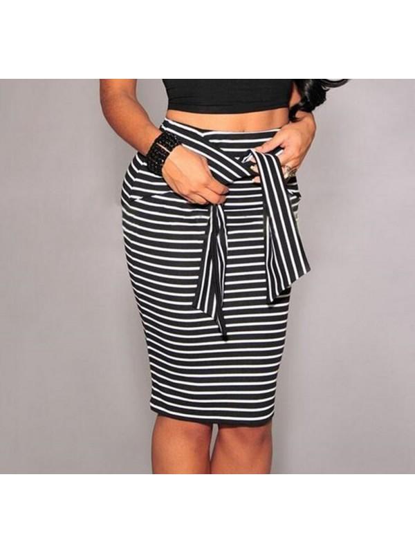 Women High-waist Striped Pencil Skirt