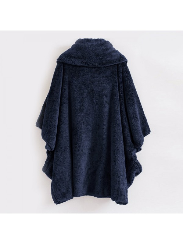 Women Plush High Collar Bat Sleeve Coat
