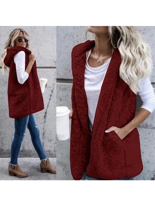 Women Fashion Sleeveless Hooded Vest