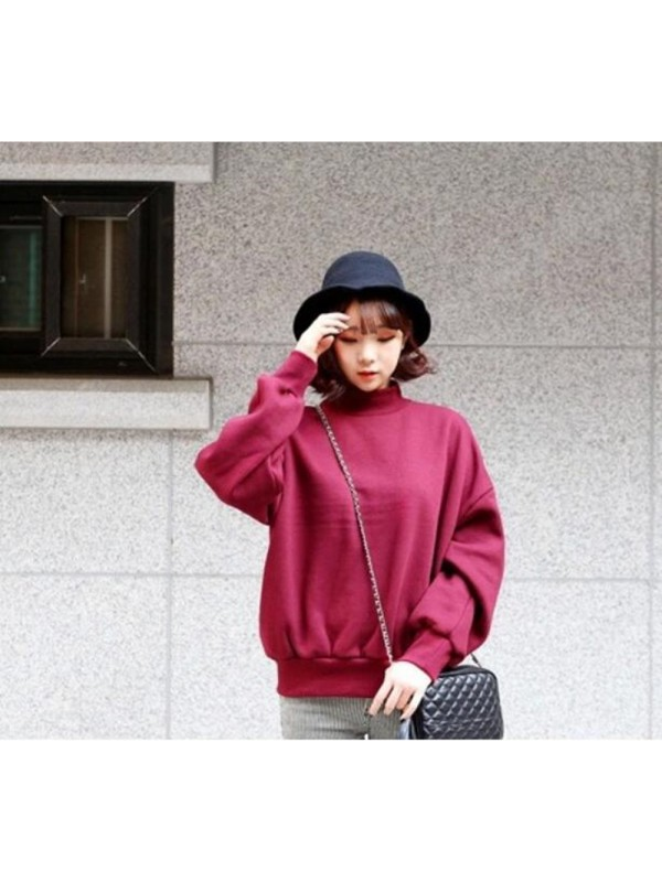 Women Solid Color Thickening Plus Velvet Sweater
