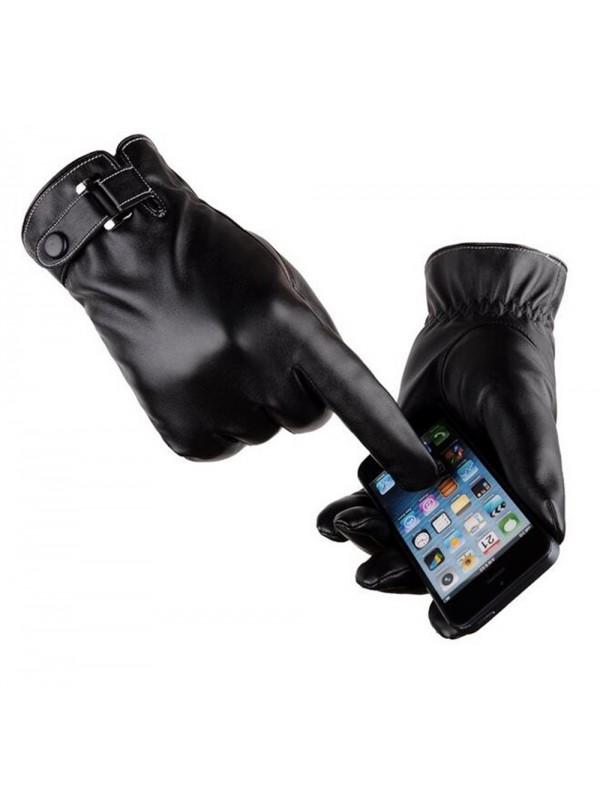 Touch Screen Winter Warm PU Gloves