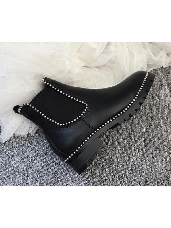 Black Patent Stud Chelsea Boots