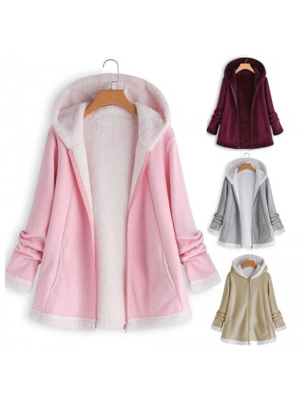 Women Winter Pocket Zipper Plush Hooded Coat