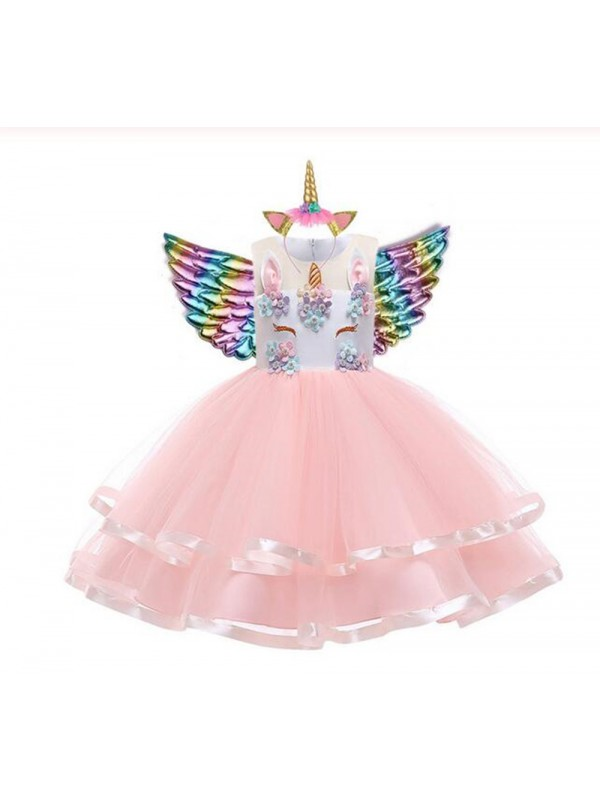3Pcs Girls Unicorn Christmas Party Dress
