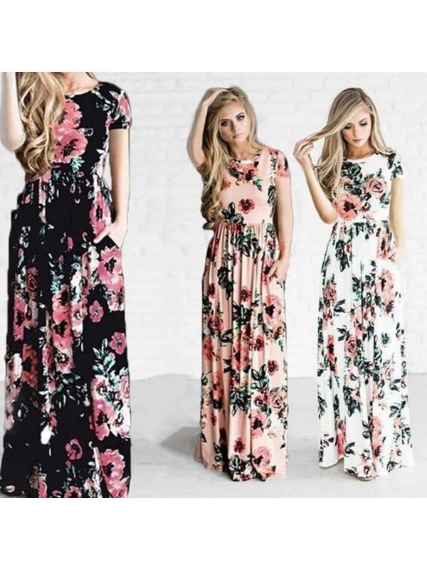 Women Floral Print Short Sleeve Dress