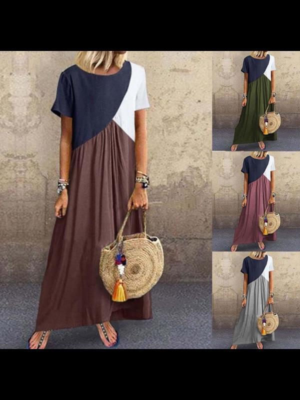 Stitched Irregular Short-sleeved Dress