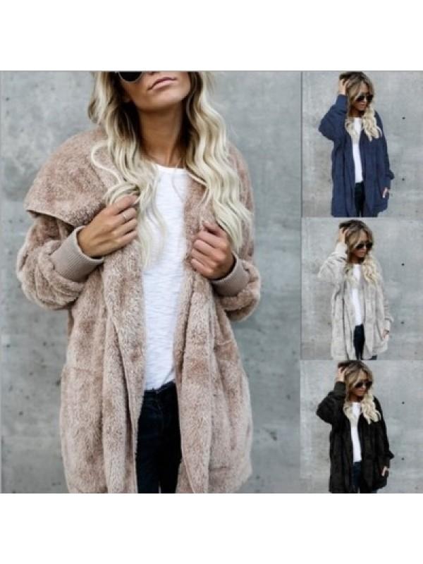 Women Fleece Oversized Faux Fur Long Sleeve Warm Jacket Coat
