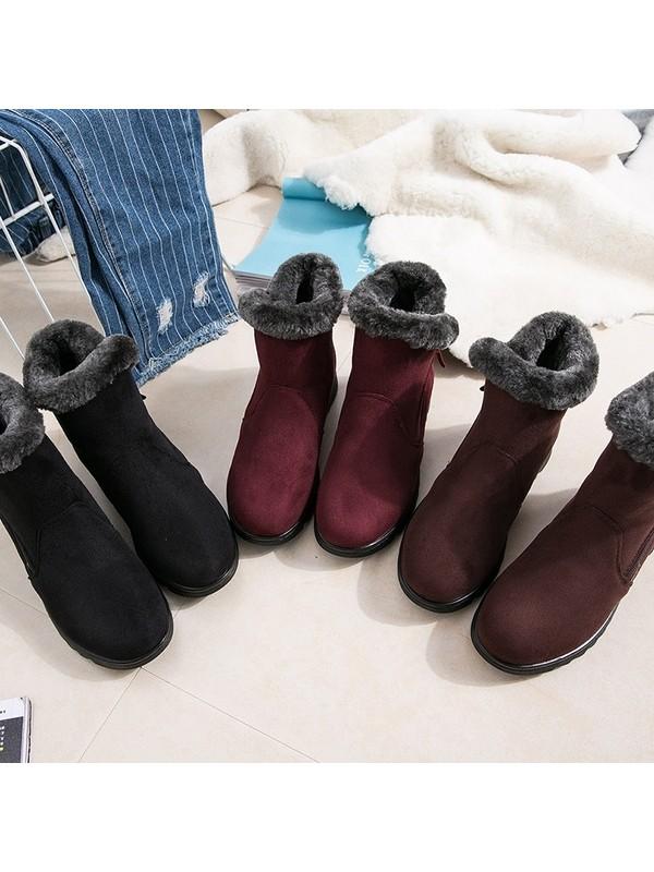 Women Side Zipper Snow Boots
