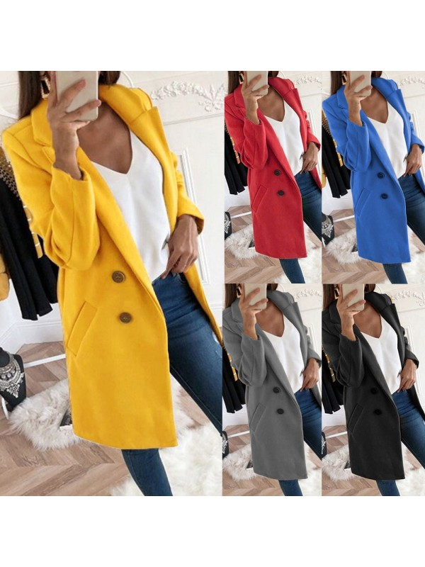 Women's Winter Fashion Solid Button Woolen Coat