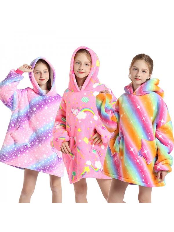 Kids Winter Warm Blanket Flannel Hoodie With Kangaroo Pocket