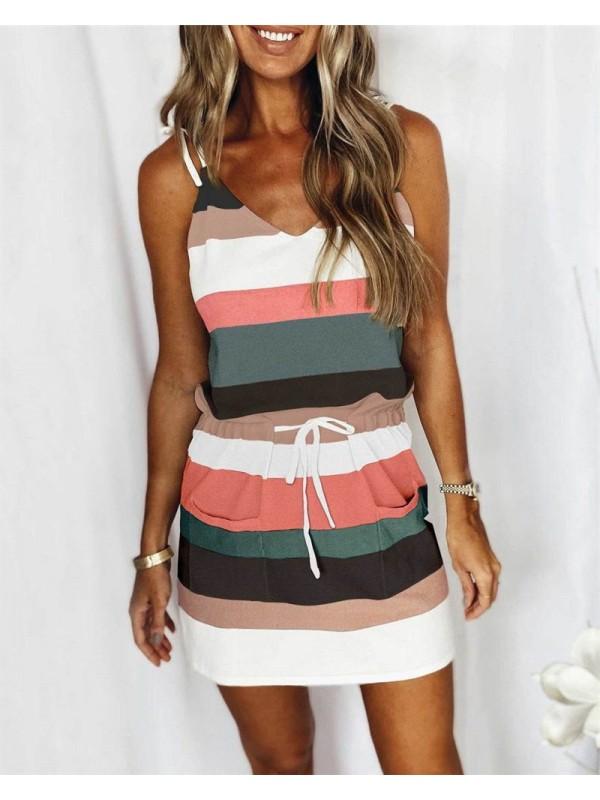 Womens Summer Sleeveless  V Neck Striped Dress