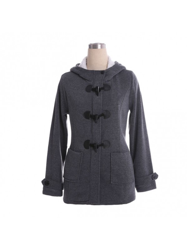 Ladies Winter Hooded Claw Buckle Coat