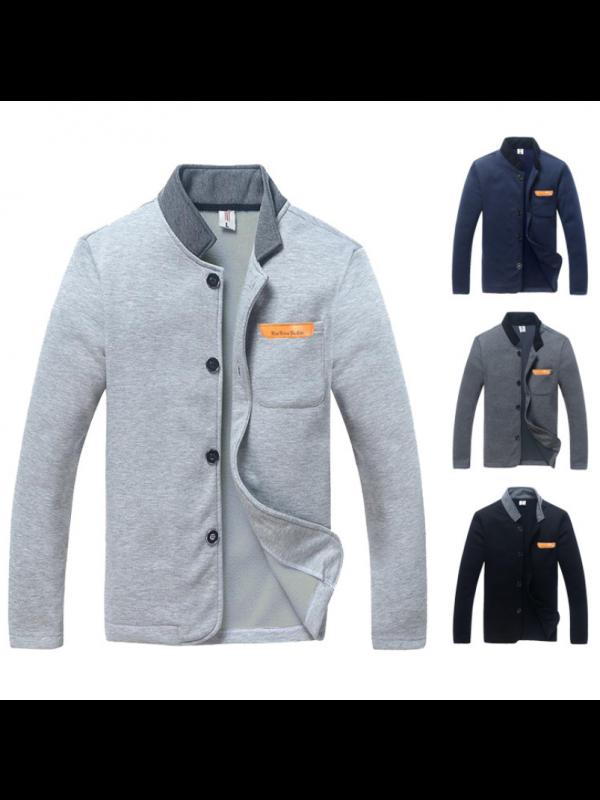 Men's Fashion Slim Solid Color Long Sleeve Sweater Jacket