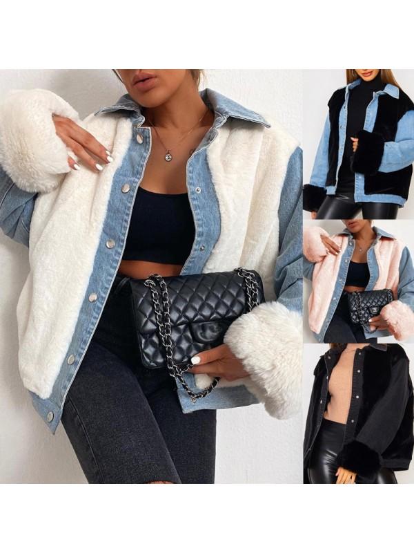 Winter Ladies Fashion Warm Plush Coat Loose Jacket