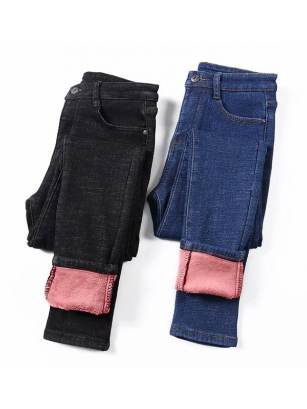 Ladies Winter Warm High-waisted Jeans Leggings