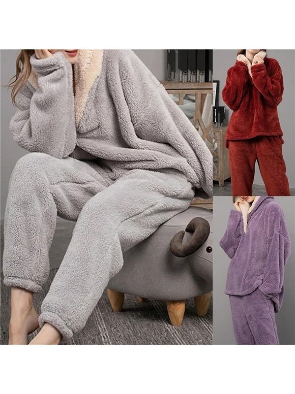 Woman Winter Warm Velvet Pajama Set