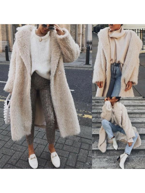 Ladies Winter Thick Warm Coat Fur Fleece Jacket