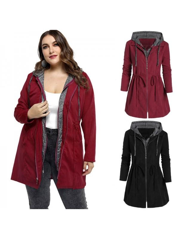 Plus Size Womens Zip Up Hooded Coat Outdoor Jacket
