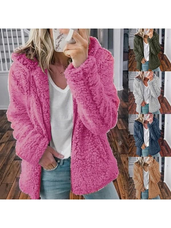 Women Fluffy Hooded Woolen Fleece Jacket Cardigan Coat