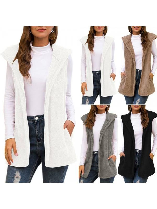 Womens Teddy Cardigan Fleece Hooded Fluffy Jacket Gilet